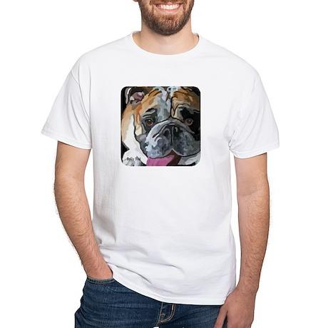 English Bulldog Face White T-Shirt