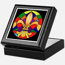 Stained Glass Look Fleur de Lis Keepsake Box