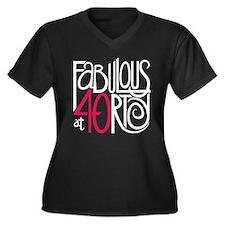 Fabulous at 40rty! Women's Plus Size V-Neck Dark T