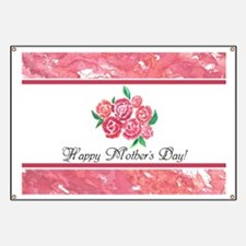 Mothers Day Pretty Pink Flowers Personalize Banner