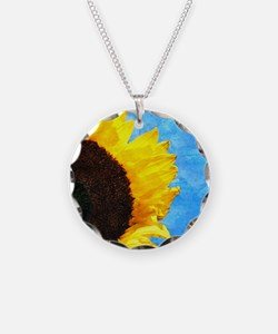 Sunflower Blue Watercolor Sky Necklace
