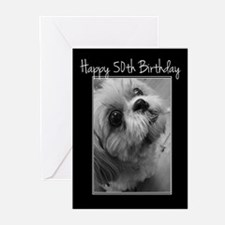 50th Birthday Shih Tzu Greeting Cards