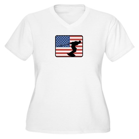 American Wakeboarding Women's Plus Size V-Neck T-S