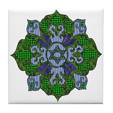 Green Hanukkah Mandela Tile Coaster
