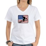 American Skiing2 Women's V-Neck T-Shirt