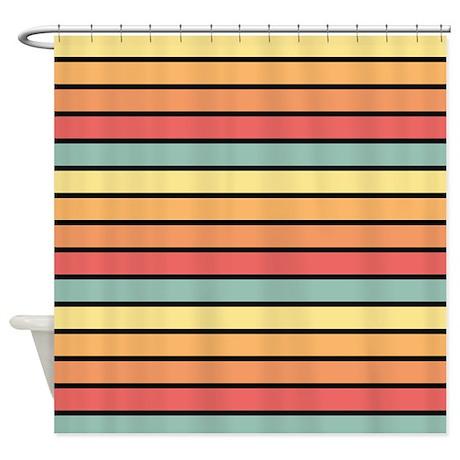 Multicolored Stripes: Yellow, Peach Shower Curtain
