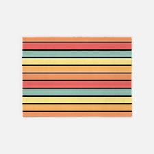 Multicolored Stripes: Yellow, Peach 5'x7'Area Rug
