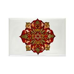 Red Hanukkah Mandela Rectangle Magnet (10 pack)