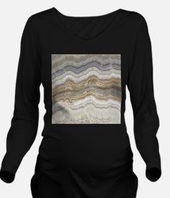 Chic neutral marble Long Sleeve Maternity T-Shirt