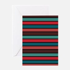 Multicolored Stripes: Ox Blood, Berr Greeting Card