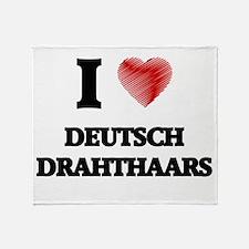 I love Deutsch Drahthaars Throw Blanket