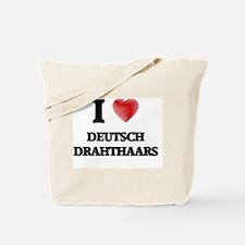 I love Deutsch Drahthaars Tote Bag