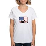 American Motocycle Riding Women's V-Neck T-Shirt