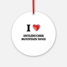 I love Entlebucher Mountain Dogs Round Ornament