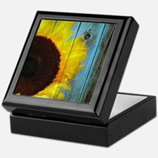 Rustic Sunflower Teal Wood Keepsake Box