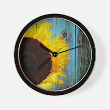 Rustic Sunflower Teal Wood Wall Clock