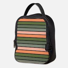 Multicolored Stripes: Pink, Pea Neoprene Lunch Bag