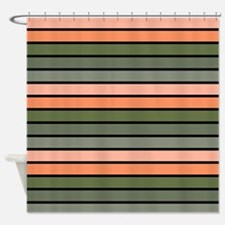 Multicolored Stripes: Pink, Peach, Shower Curtain
