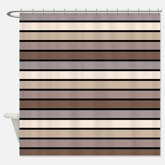 Monochrome Stripes: Shades of Brown Shower Curtain