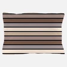 Monochrome Stripes: Shades of Brown Pillow Case