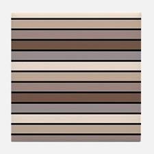 Monochrome Stripes: Shades of Brown Tile Coaster