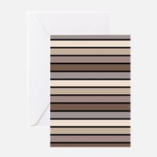 Monochrome Stripes: Shades of Brown Greeting Card