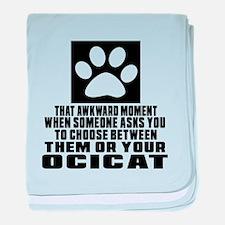 Awkward Ocicat Cat Designs baby blanket
