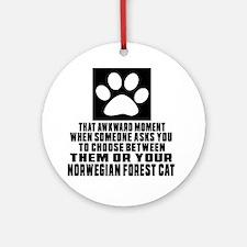 Awkward Norwegian Forest Cat Cat De Round Ornament