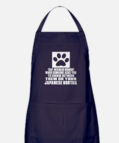 Awkward Kurilian Bobtail Cat Designs Apron (dark)