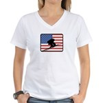 American Downhill Skiing Women's V-Neck T-Shirt
