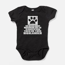 Awkward Highlander Cat Designs Baby Bodysuit