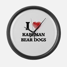 I love Karelian Bear Dogs Large Wall Clock