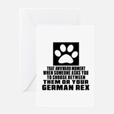 Awkward German Rex Cat Designs Greeting Card