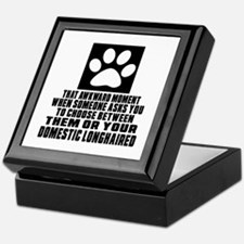 Awkward Domestic longhaired Cat Desig Keepsake Box