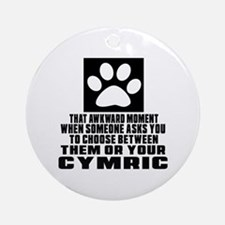 Awkward Cymric Cat Designs Round Ornament