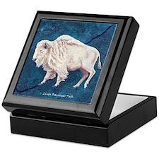 White Buffalo Tile-topped Keepsake Box