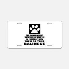 Awkward Balinese Cat Design Aluminum License Plate