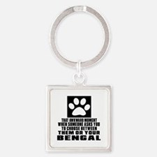 Awkward Bengal Cat Designs Square Keychain