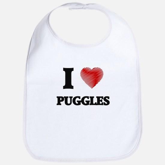 I love Puggles Bib