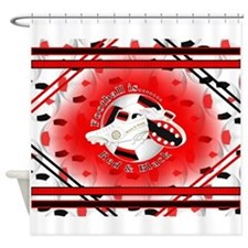 Red and Black Football Soccer Shower Curtain