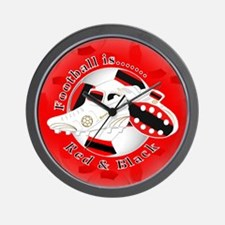 Red and Black Football Soccer Wall Clock