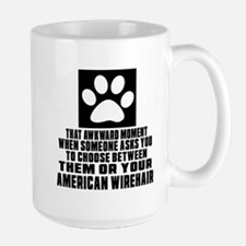 Awkward American Wirehair Cat Designs Large Mug