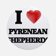 I love Pyrenean Shepherds Round Ornament