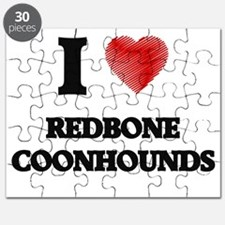 I love Redbone Coonhounds Puzzle
