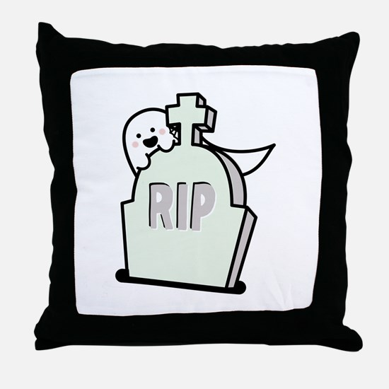 Ghost Grave Throw Pillow