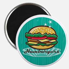 Retro 1950s Diner Hamburger Circle Magnets