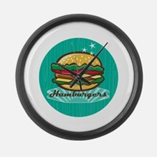 Retro 1950s Diner Hamburger Circle Large Wall Cloc
