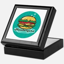Retro 1950s Diner Hamburger Circle Keepsake Box