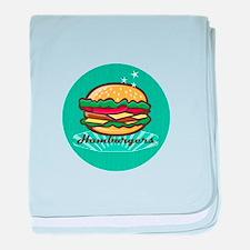 Retro 1950s Diner Hamburger Circle baby blanket