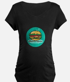 Retro 1950s Diner Hamburger Circle Maternity T-Shi